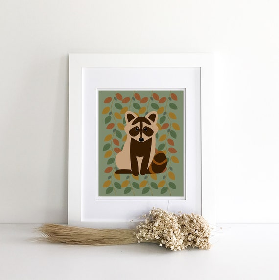 Raccoon Print - Raccoon Nursery - Raccoon Decor - Raccoon Silhouette - Woodland Nursery Decor - Nursery Woodland Prints - Wilderness Nursery