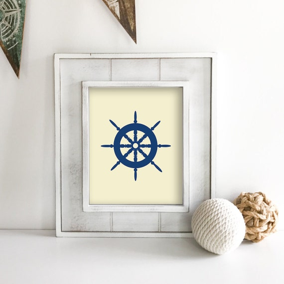 Ship Wheel - Nautical Nursery - Sea Turtle - Seahorse - Sea Animals - Nautical Baby Shower - Coastal Wall Art - Ocean Nursery - Ocean