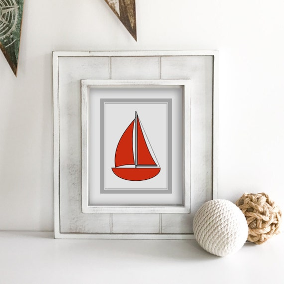 Sailboat - Nautical Nursery - Nautical Baby Shower - Coastal Wall Art - Anchor Wall Decor - Ship Wheel - Lake House Decor - Ocean