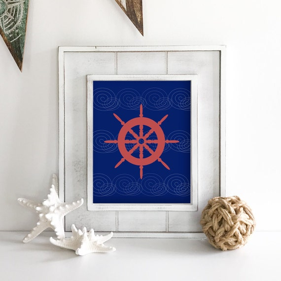 Nautical Nursery - Ship Wheel - Nautical Baby Shower - Coastal Wall Art - Coastal Wall Decor - Ocean Nursery - Anchor Wall Decor - Ocean