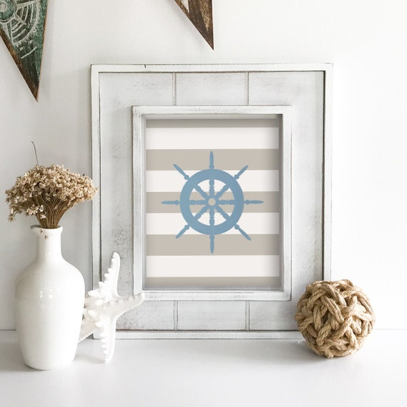 Lake House Decor - Coastal Wall Art - Light House - Light House Wall Decor - Light House Nursery - Light House Bathroom Decor - Ship Wheel