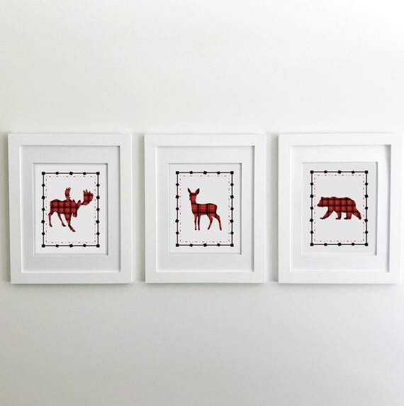 Buffalo Plaid - Moose - Lumberjack Nursery - Moose Print - Bear Print - Deer Print - Woodland Nursery Decor - Bear Nursery Decor