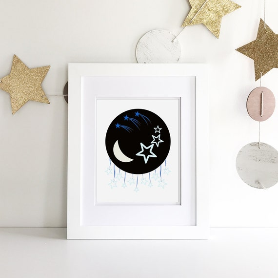 Space Nursery - Galaxy Print - Space Print - Moon Print -  Space Canvas - Galaxy Art - Sweet Dreams Nursery Art - Outer Space Nursery
