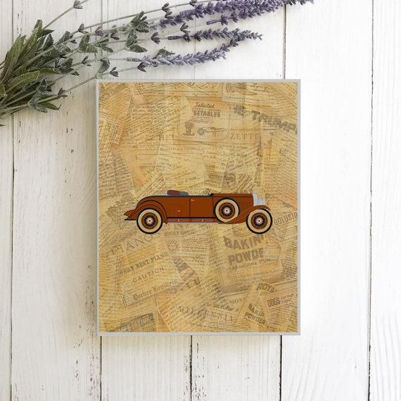 Classic vintage car nursery art prints - vintage green and brown