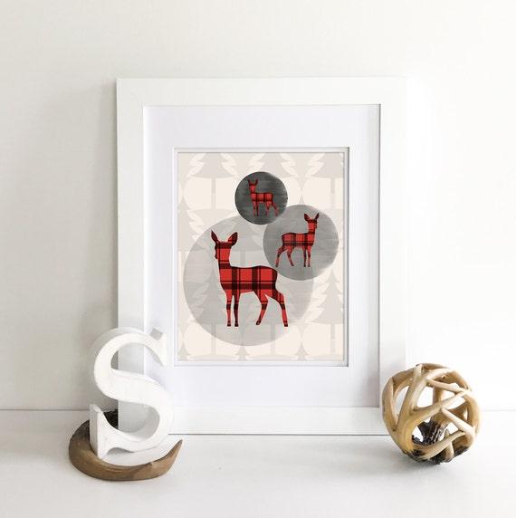 Buffalo Plaid - Deer Print - Deer Silhouette - Deer Nursery Decor - Plaid Nursery - Woodland Nursery Decor - Nursery Woodland Prints
