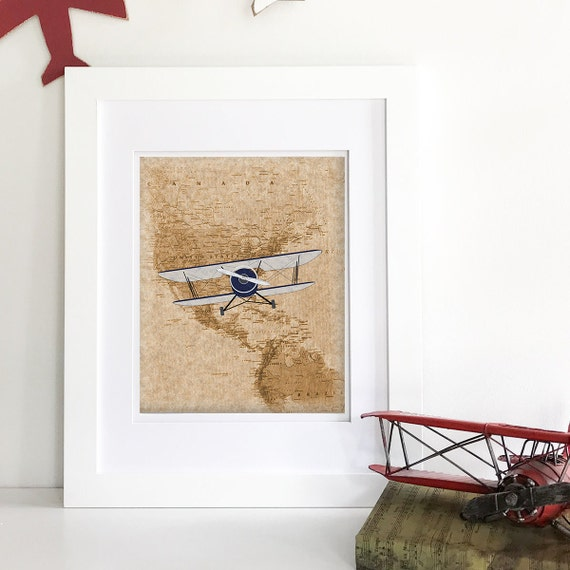 Vintage Airplane Nursery Decor - Airplane Nursery Art - Map Nursery - Vintage Nursery Decor - Vintage World Map Print - Vintage World Globe