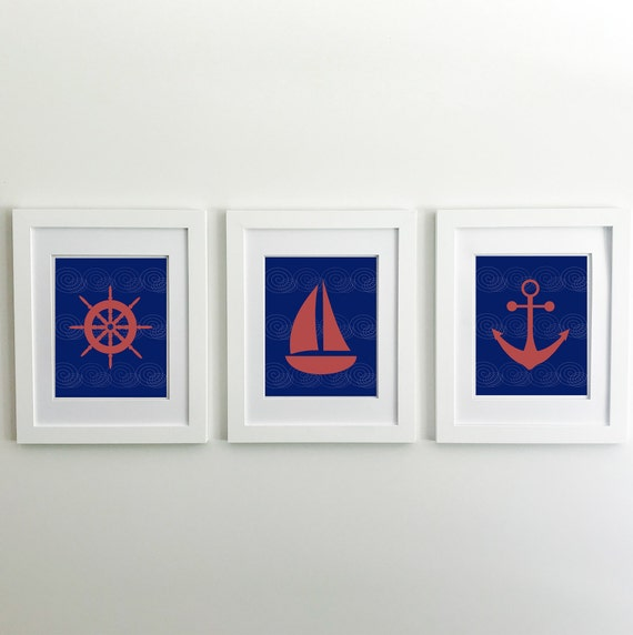 Nautical Nursery - Sailboat - Nautical Baby Shower - Coastal Wall Art - Coastal Wall Decor - Ocean Nursery - Anchor Wall Decor - Ocean