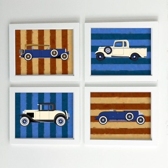 Transportation art prints - Classic vintage car nursery art prints - Travel nursery - patriotic red white and blue