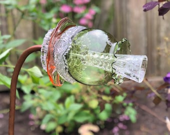Handmade Glass dish garden art from reclaimed glassware, moss green, pink and crystal clear