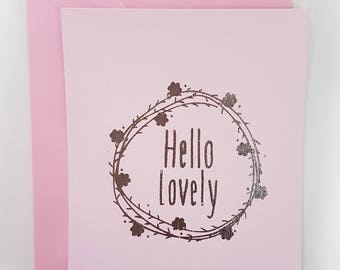 Hello Lovely foiled Blank Note Cards PACK OF 5