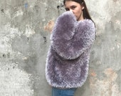 Faux fur jacket faux fur coat fashion coat fashion cardigan party coat boho cardigan hand knit coat grey fur coat Faux Fur Wrap hipster coat