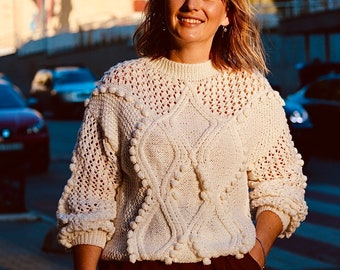 Cable knit white geometrical sweater cropped knitted jumper