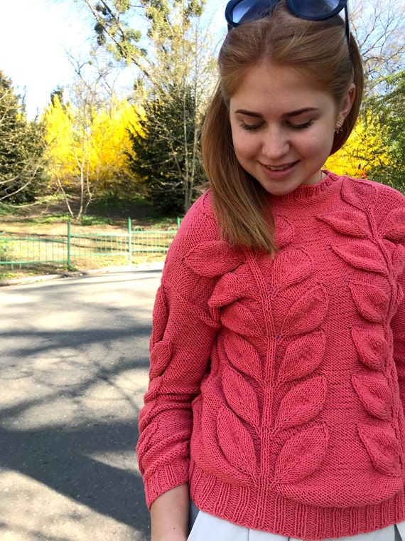 gift cable leaves sweater red design Coral pullover jumper knit chunky cotton sweater clothing summer knitted short daughter with knit Yfx7H