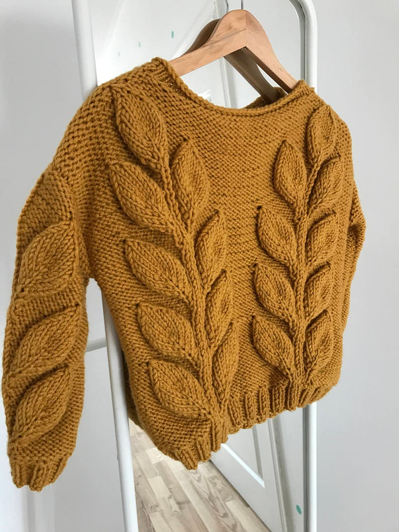 3816059246575 Women cable knit sweater mustard burnt orange knit short