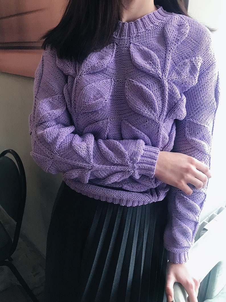 d2e6de80a63 Purple knitted sweater with leaves design womens jumper