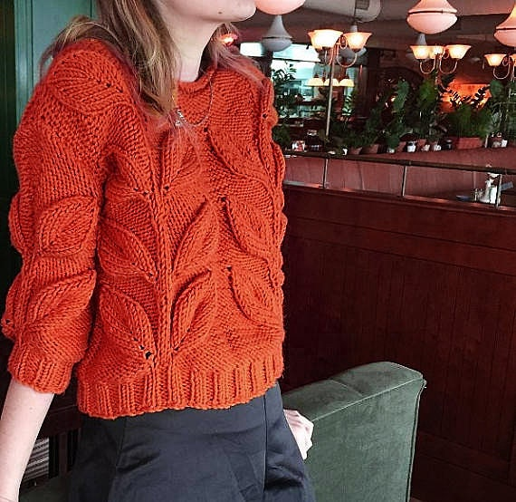 Women cable knit sweater, mustard burnt orange knit short jumper chunky knit pullover bulky hand knit sweater leaf sweater bohemian sweater