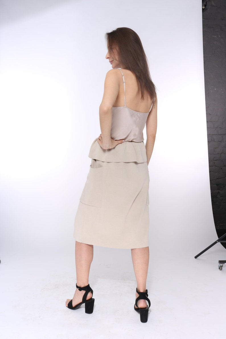 made for order Midi knit pencil skirt with buttons