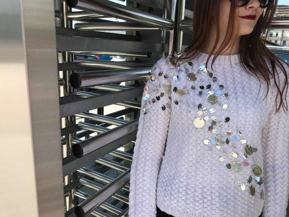 winter top knit Round jumper White gift Cozy wool with idea neck Teen sleeve girl casual sweater clothing Knitwear sequins women long p5faqn