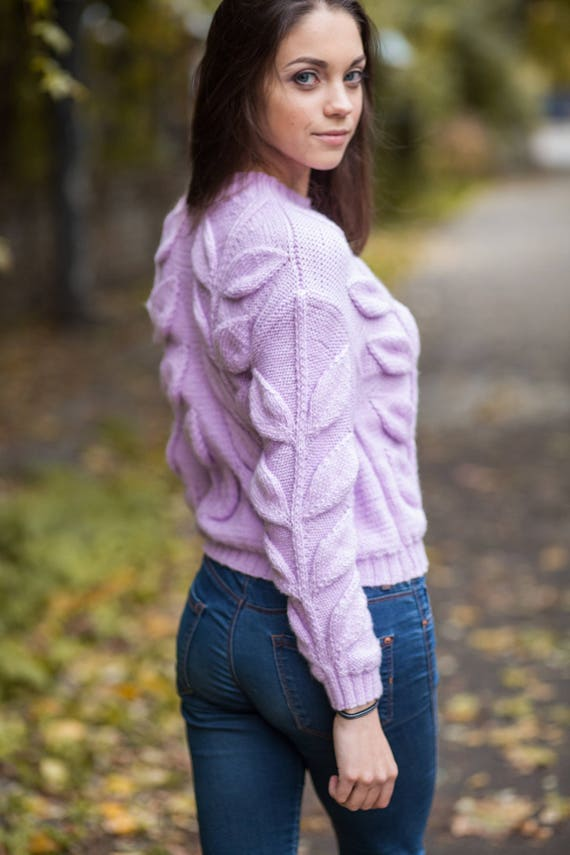 782ab70e0b0 Women cable knit violet lilac sweater, hand knit jumper chunky, pullover  bulky, short sweater, leaf sweater bohemian, Mother's day gift,