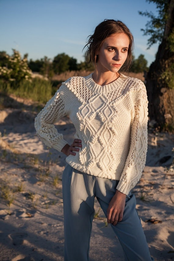 Cable knit white geometrical sweater, cropped knitted jumper, sheer chunky sweater, cotton wedding top boho summer clothing best friend gift