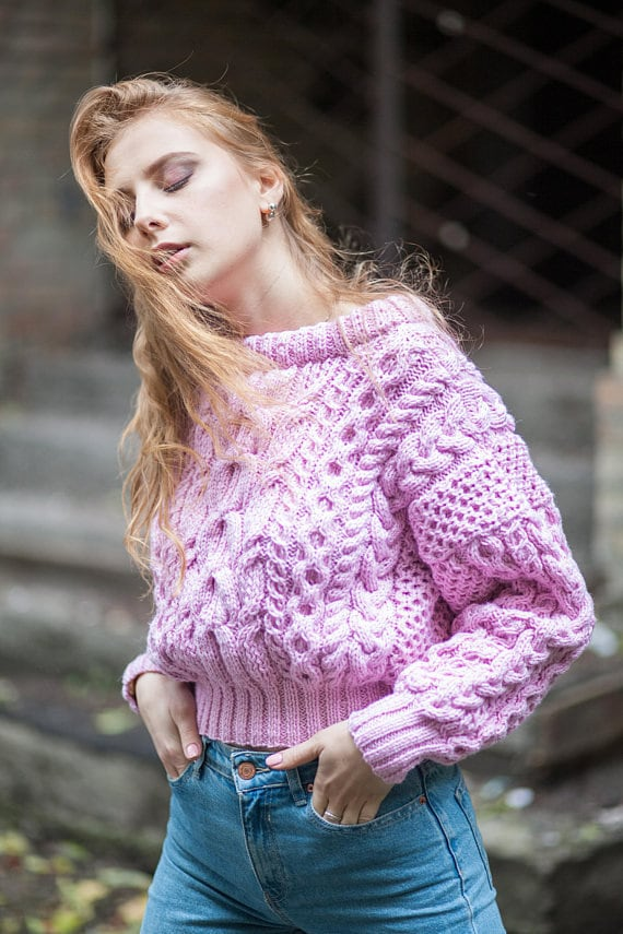 jumper knit pullover braided wool knitted sweater small winter bulky sweater Pink short sweater women cable gift chunky knit jumper slouchy RqIffF