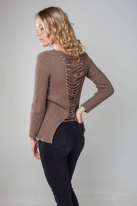 back women wool Brown back sweater pullover jumper birthday sweater knitted grunge top clothing knit festival v open gift daughter rwqtc7Xq