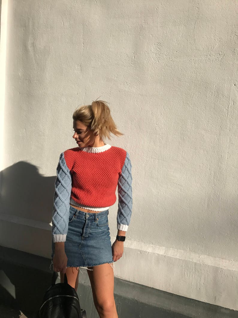 Knit top clothing red blue sweater long sleeve jumper white collar sweater gift for lady fall sweater pullover cozy wool sweater soft women