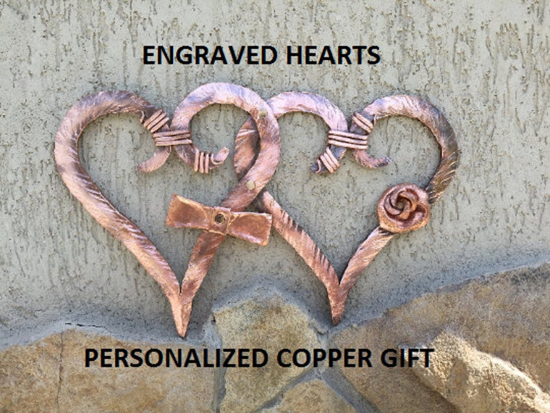 7 Wedding Anniversary 100/% Copper Hammered Heart Pendant