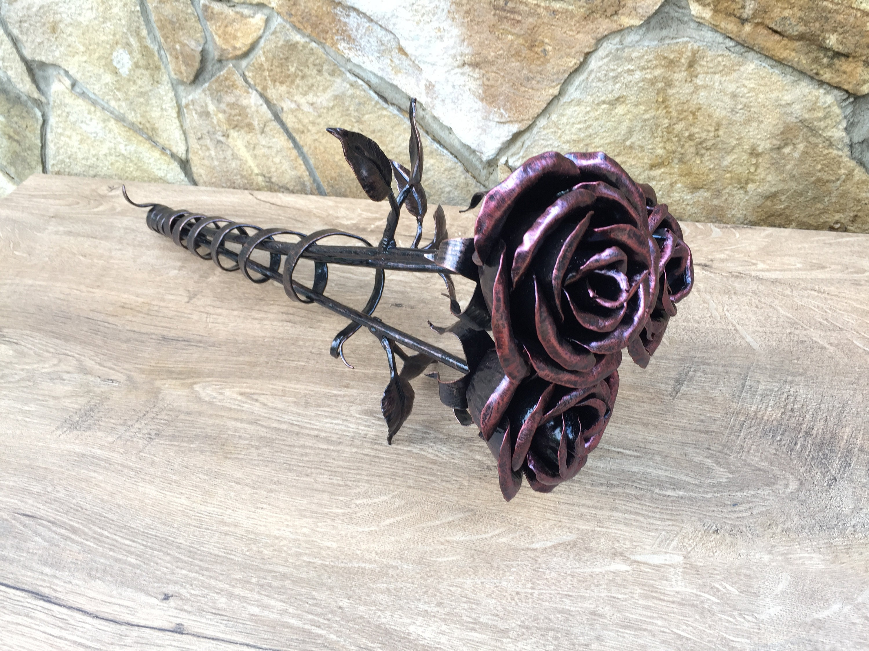 Wrought Iron Flow Hand Forged Steel Rose Sculpture Romantic Anniversary gift