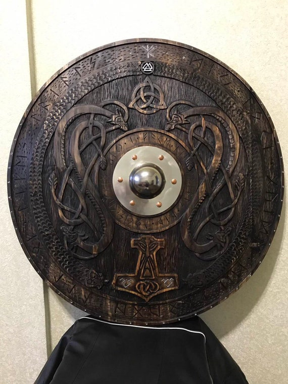 viking axe,runes shield ancient viking artifact Viking shield sword mjolnir reenactment authentic viking relic medieval valhalla