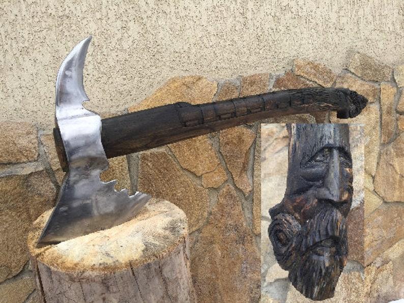 Bearded axe, viking axe, carpentry woodwork, hunting axe, engraved axe,  hatchet axe tool, viking steel axe, best man axe gift, camping axe