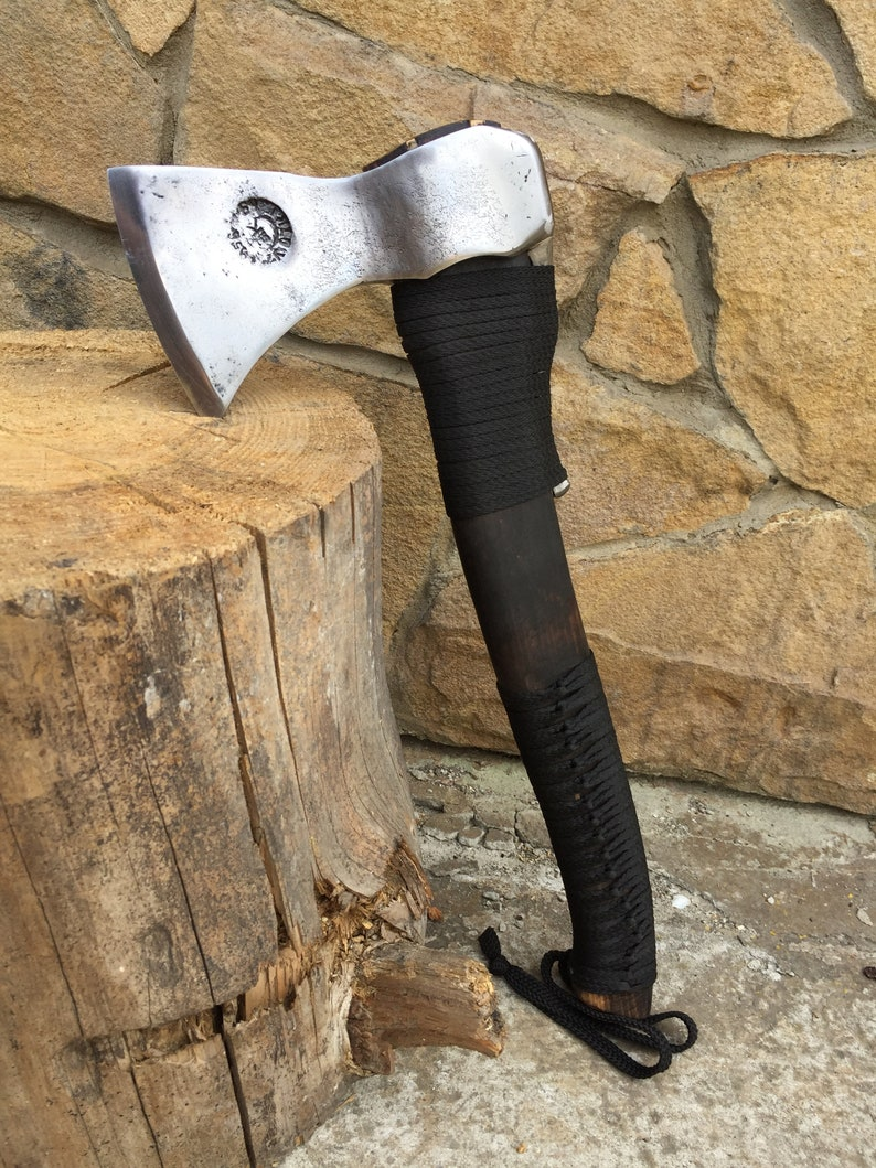 tomahawk viking axe warrior,rustic pagan hatchet,viking weapon,love sign medieval axe Viking axe with leather sheath hatchet mens gifts