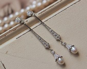 Bridesmaid Earrings, Art Deco Earrings ,Bridal Earrings, Freshwater Pearl Earrings, Wedding Earrings, Wedding Jewelry, UK