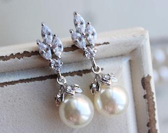 Art Deco Earrings , Vintage Style  Pearl Earrings, Bridal Earrings,  Wedding Earrings,  Pearl Drop Earrings,  Stud Earrings