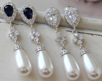 Blue Art Deco Earrings ,Vintage Style Crystal Pearl Earrings, Bridal Earrings,  Wedding Earrings, Pearl Drop Earrings, Dangle  Earrings, UK