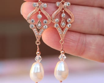 Rose Gold  Art Deco Earrings , Vintage Style Crystal Pearl Earrings, Bridal Earrings, Wedding Earrings, Pearl Drop Earrings, Dangle Earrings