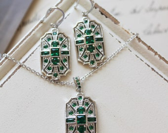 Green  Art Deco Earrings   Necklace set , Vintage Style Crystal  Earrings,  Wedding Earrings, Crystal Drop  Earrings, Bridal Earrings set