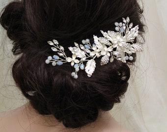 1cab2dfb2db Opal Hair Clip , Wedding Hair Clip , Bridal Hair piece, Opal Headpiece, Hair  jewelry, Silver Bridal Hair Vine, Hair accessory, UK