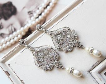Art Deco Earrings ,  Bridal Earrings, Vintage Style Crystal Pearl Earrings,  Wedding Earrings,  Pearl Drop Earrings,  Stud Earrings