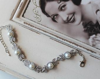 Art Deco Bracelet,  Vintage style pearl bracelet,   Gatsby bracelet,  Wedding bracelet,  Great Gatsby jewellery, Bridesmaid gift