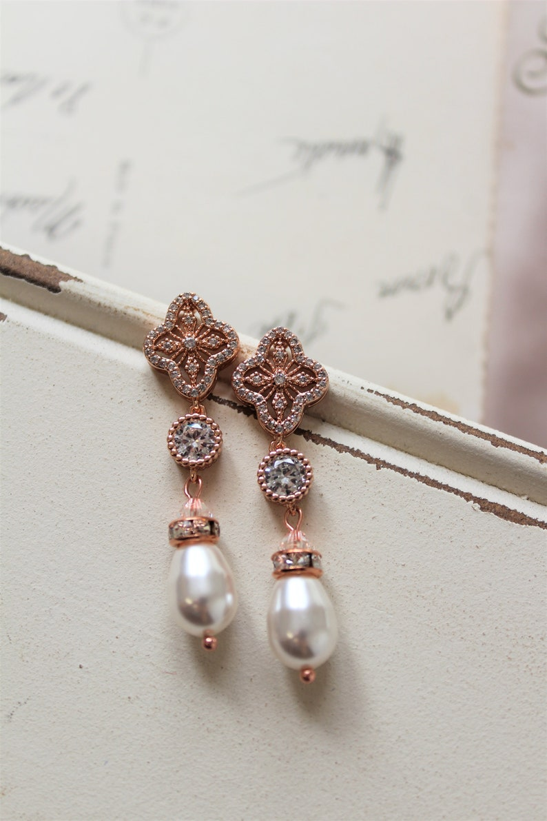 bb4e7aab270ff Rose Gold Art Deco Earrings Bridal Earrings Wedding Earrings Vintage Style  Crystal Pearl Earrings Pearl Drop Earrings Wedding Jewelry