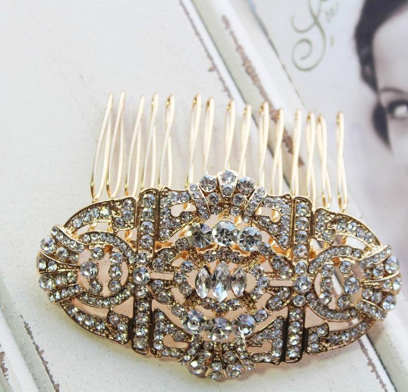 Wedding Hair comb Gold Art Deco Hair comb Bridal Hair comb Wedding Hair piece Bridal Hair Accessory Silver Crystal Wedding Hair Accessory