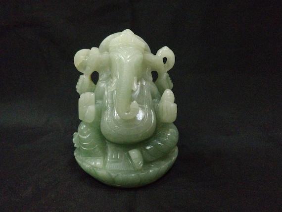Jade Ganesha Hindu mythology art Gemstone figures Aventurine Ganesha Semiprecious stone figures Gemstone Ganesha Hindu God sculptures