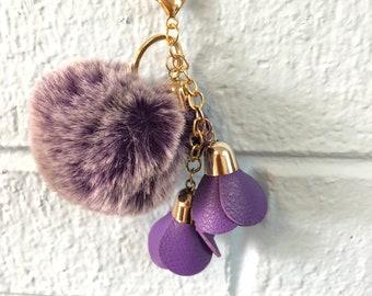 Pom Pom / Purple / PomPom / Pom-Pom / Keychain / Purse Charm/Faux Fur Pom Pom/Handbag Charm/Fluffy Pom Pom/Gifts for Her