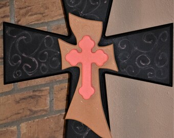 Hand Painted Stacked Wooden Cross