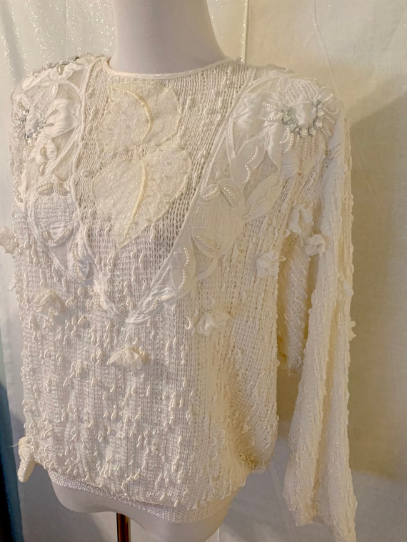 Vintage Italian Beaded Pearl Knit White Sweater - image 2