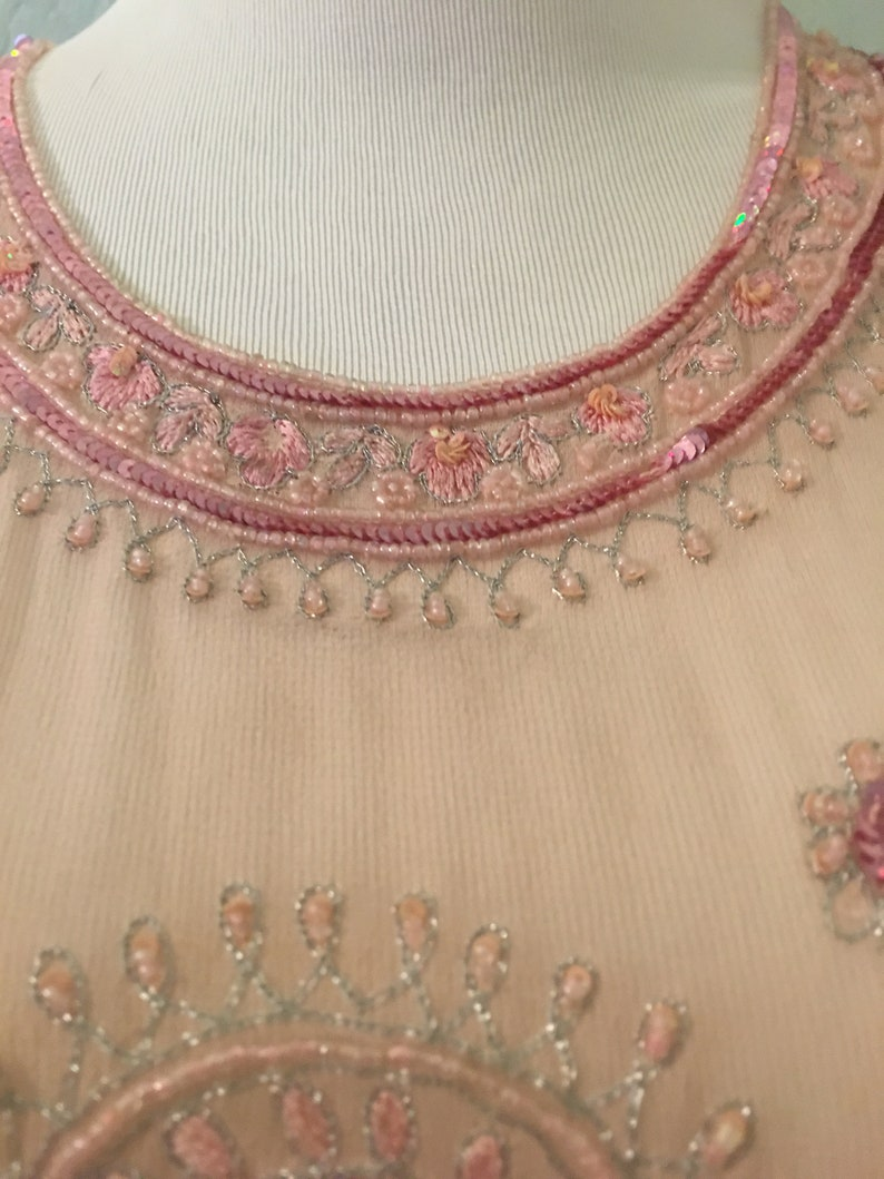 Vintage Crave Chic Pink Sheer Silk Beaded Top