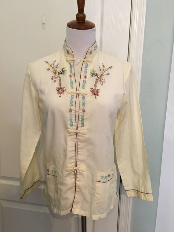 Vintage Embroidered Chinoiserie Blouse