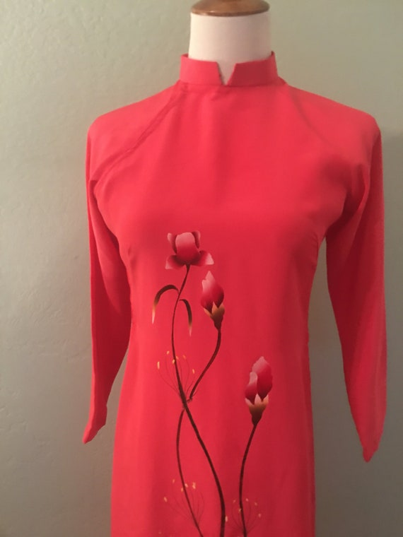 Vintage 70s Trang Oriental Coral Floral Dress Tun… - image 1