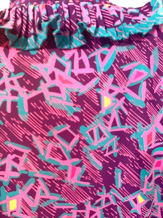 Vintage Ruffle Purple Blouse - image 7